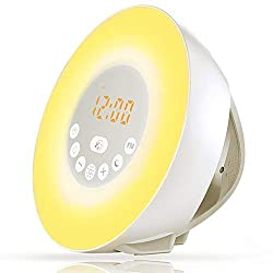 Sunrise Alarm Clock, Digital Alarm Clock, Wake Up Light with 6 Nature Sounds, FM Radio and Touch Control, LED Display Color Changing Night Light for Kids and Heavy Sleepers (White)