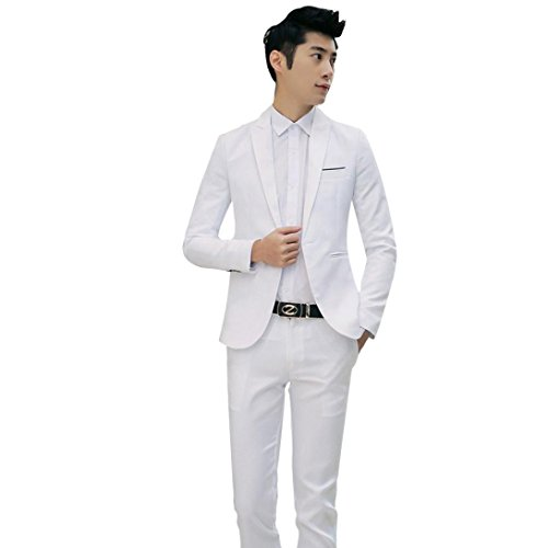 White Leisure Suit (Welcomeuni 2017 Business and Leisure Suit A Two-piece Suit The Groom's Best Man Wedding (M, White))