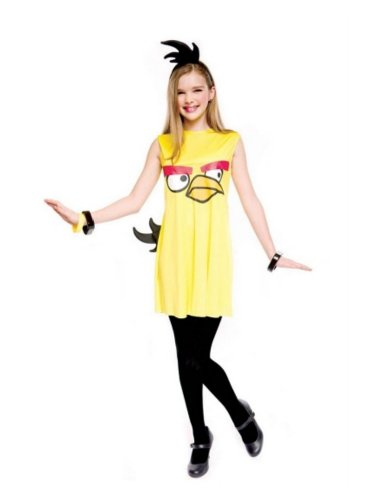 PMG Girls Yellow Bird Costume Angry Birds Dress & Headpiece M (Big Bird Head Costume)