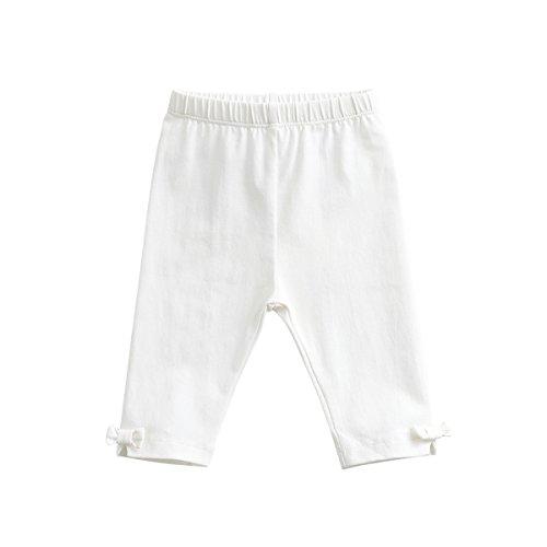 marc janie Baby Toddler Girls' Solid Color Bow Capri Pants 18 Months White (Toddler Leggings Capri)