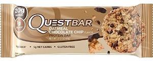 Quest Nutrition Protein Bar Oatmeal Chocolate Chip. Low Carb Meal Replacement Bar w/20g+ Protein. High Fiber, Soy-Free, Gluten-Free (24 Count) - Chocolate Oatmeal Fiber