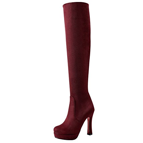 Mee Shoes Women's Chic Slip On High Heel Knee Boots Red