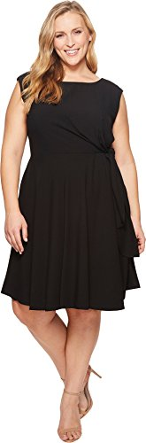 Tahari ASL Women's Plus Size Sleeveless Stretch Crepe Side Tie Shift Black 18 W