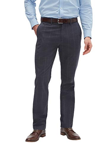 Banana Republic Mens Aiden Slim Fit Casual Chino Pants Charcoal Grey Large Glen Plaid (31W x -