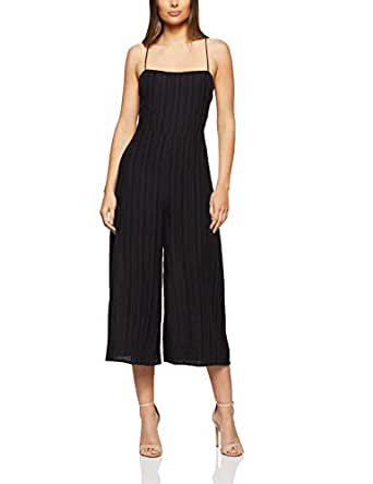 THIRD FORM Women's SENRO TIE Back Jumpsuit, Charcoal Stripe, Extra Small