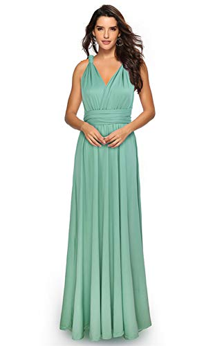 Clothink Women's Green Multi-Way Convertible Wrap Party Maxi Dress XL