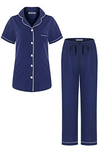 SofiePJ Women's Cotton Short Sleeve Long Pants Pajama Set Navy M