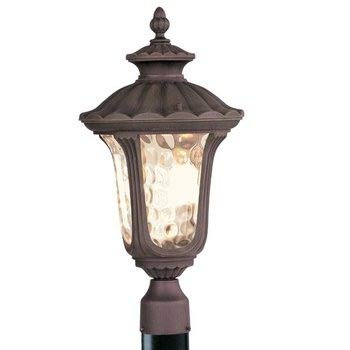 Livex Lighting 7659-58 Oxford - Three Light Exterior Lantern, Imperial Bronze Finish with Light Amber Water Glass