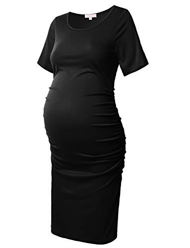 Women's Bodycon Maternity Dress Casual Short Sleeve Ruched Sides Knee Length Pregnant Dresses Black XL