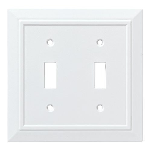 Franklin Brass W35244-PW-C Classic Architecture Double Switch Wall Plate/Switch Plate/Cover, White (Plastic Switchplate)