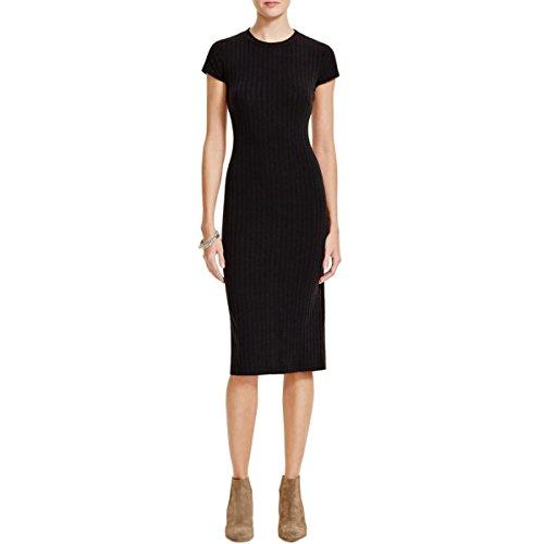 Free People Womens Ribbed Knit Open Back Maxi Dress Black L