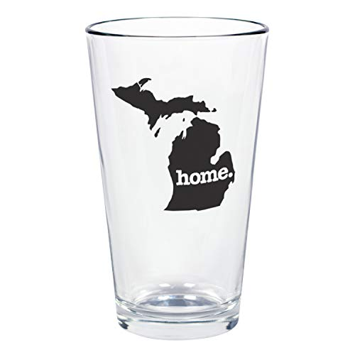 """Home State Apparel Set of 4 Michigan""""home."""" Pint Glasses"""