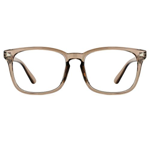 TIJN Blue Light Blocking Glasses Square Nerd Eyeglasses Frame Anti Blue Ray Computer Game Glasses (Wheat)