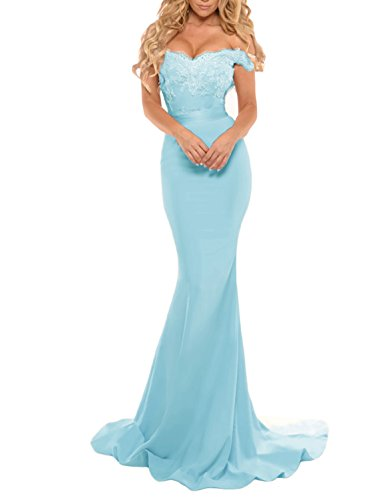 964aa1a231ca Home Brands DarlingU Womens Mermaid Formal Off Shoulder Mermaid Prom  Evening Dresses Long Celebrity Gown 2017 Light Blue 6.   