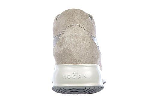 Hogan scarpe sneakers donna camoscio nuove interactive h spigata lurex beige