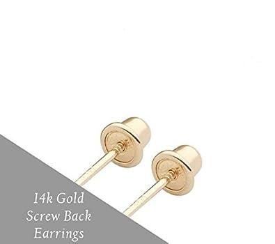 14k Yellow Gold Cubic Zirconia Princess Cut Stud Earrings with Screw Backs