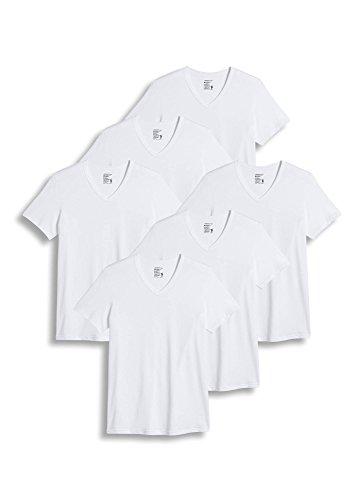 Jockey Men's T-Shirts Slim Fit Cotton Stretch V-Neck - 6 Pack, White, M