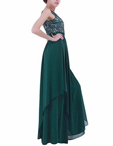 Cóctel Noche Graduación de Freebily Vestido Espalda Oscuro para Vestido Mujer Chica Boda al Aire Verde Largo Elegante Eqt8A8