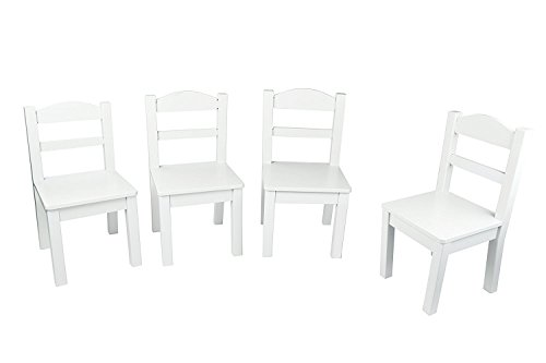 Pidoko Kids Wooden Table and Chairs Set White | Includes 4 Chairs and 1 Art Craft Study and Activity Table for Children | Educational Furniture and Picnic Table with Chairs (White)