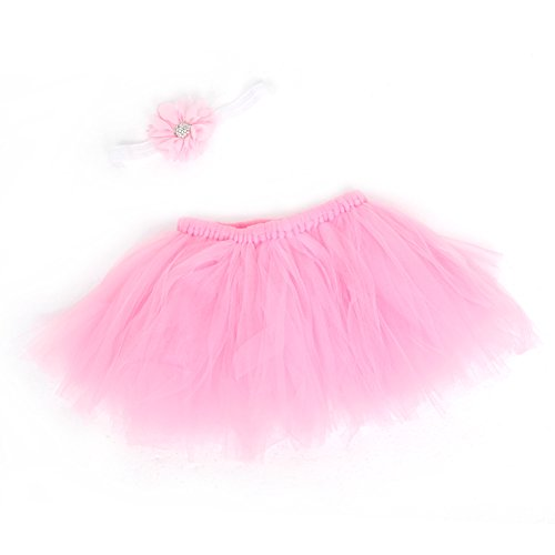 [Zjzhao Cute Newborn Toddler Baby Girls Headband+Tutu Skirt Prop Photo Outfits Costume (Pink)] (Matching Costumes For Mom And Baby)