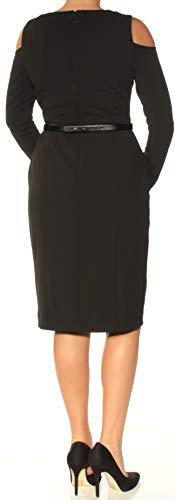 DKNY Sheath Black Shoulder Women's Cold Dress Belted SRqSrwZ