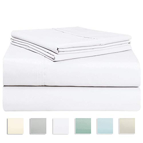 "400tc 100% Cotton - Pizuna 400 Thread Count Cotton Sheets Set, 100% Long Staple Cotton White Full Size Sheets Set, Soft Cotton Sateen Bed Sheets, Deep Pocket fit Upto 17"" (White Full 100% Cotton Sheet Sets)"