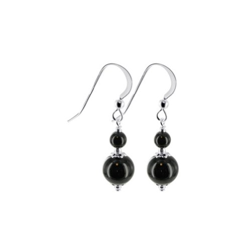 Black Onyx Bead Earrings - Gem Avenue 925 Sterling Silver Handmade with Black Onyx Beads Swarovski Elements Crystal Drop Earrings for Women