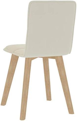 vidaXL 2x Chaises de Salle à Manger Chaises à Dîner Sièges de Salle à Manger Meubles de Cuisine Chaises de Repas Maison Intérieur Crème Tissu