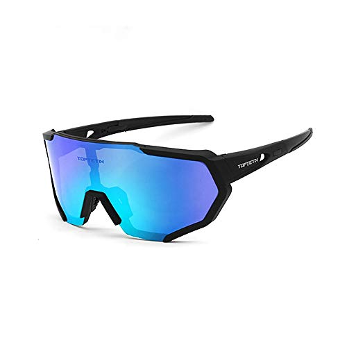 Polarized Sports Sunglasses for Men Women, Bike Glasses with Strap Interchangeable Lens, Bicycle Sunglasses for Driving Cycling Running Fishing Golf Baseball Outdoor Eyewear Shades (blue) (Multi Lens Biking Glases)