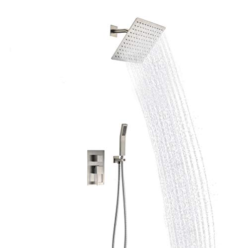 Shower Faucet Kit Complete with Valve Brushed Nickel with 10 Inch Square Shower Ceiling Head &Handheld Shower Combo Big Flow Wall Mounted Concealed Shower Trim Khrodis Brand (Valve Body Included)