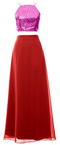 MACloth Bridesmaid Sequin Piece Prom Formal Dress 2 Red Women Gown Long Homecoming Fuchsia 1nrq1fg