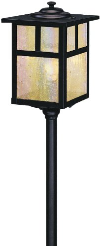 Mount Light Path Stem (Arroyo Craftsman LV12-M5TGW-BK Mission Collection 1-Light LV Stem Mount Pathway Fixture, Black Finish with Gold White Iridescent Glass)
