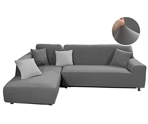 - WOMACO Sectional Sofa Cover L Shape Couch Slipcover - for Chaise Lounge + Sofa Style Sectional Couch (Gray, Chaise Lounge(M)+Large Sofa)