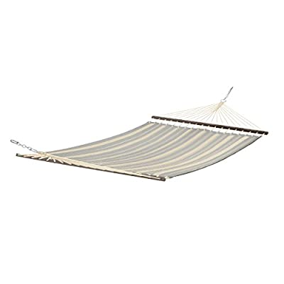 Classic Accessories Montlake FadeSafe Quilted Double Hammock, Heather Grey/Antique Beige - The Mont lake fade safe fabric system is a water-repellent, 100% solution-dyed polyester fabric that minimizes fading to keep hammock colors strong and vibrant. The custom-colored spreader Bar is constructed from shock-absorbent Beechwood for strength and durability. The reversible hammock bed has thick quilted fabric with striping on one side and solid color on the other side and combines several rich colors to stand out on any patio. - patio-furniture, patio, hammocks - 31BGTwKRC3L. SS400  -