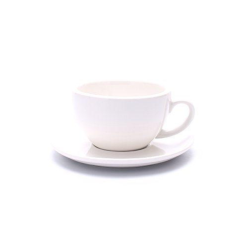 Coffeezone Porcelain Speciality Coffee Cup and Saucer, Small Cappuccino and Double Espresso, New Bone China for Coffee Shop and Barista (Glossy White, 5 oz)