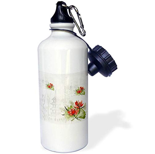 3dRose Lens Art by Florene - Watercolor Art - Image of Asian Pagodas and Orange Flowers in Watercolors - 21 oz Sports Water Bottle (wb_295146_1) by 3dRose