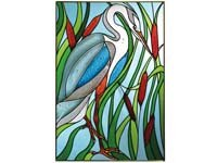 Great Blue Heron in Cattails Art Glass Panel Wall Window Hanging Suncatcher 20 x 14