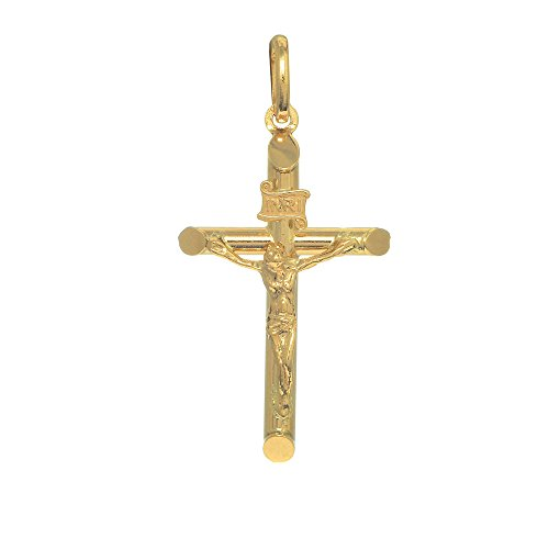 JewelStop 14k Yellow Gold Crucifix Cross Religious Charm Pendant, - Baby Crucifix Gold