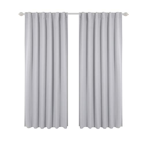Platinum Panel Curtain (Deconovo Back Tab and Rod Pocket Curtains Blackout Curtains Thermal Insulated Room Darkening Curtains for Bedroom 52x63 Inch Platinum 2 Panels)