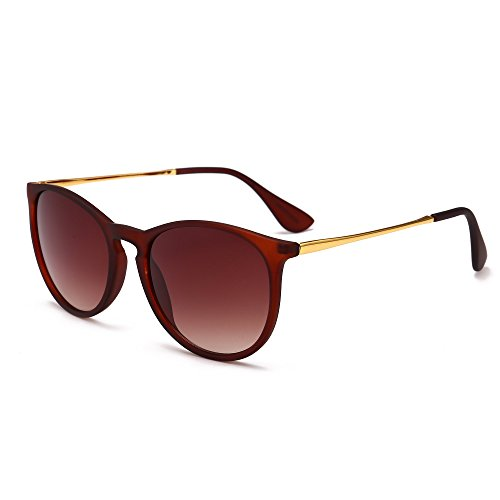 SUNGAIT Vintage Round Sunglasses for Women Erika Retro Style (Brown Frame Matte Finish/Brown Gradient - Spectacle Uk Frames