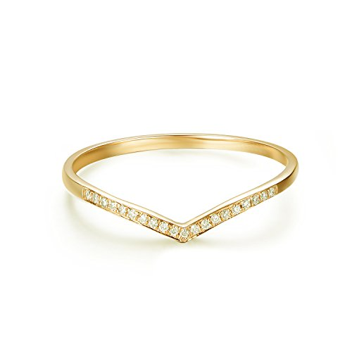 (Hafeez Center 14K Gold Round Diamond Wedding Band V Shape Curved Wedding Ring Band (Yellow-Gold, 7))