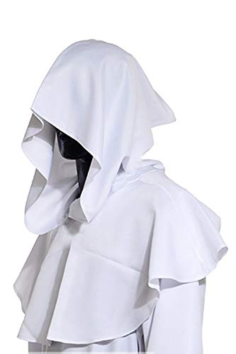YMING Vintage Medieval Cowl Hat Halloween Hooded Wicca Pagan Cosplay Accessory Unisex (White) -