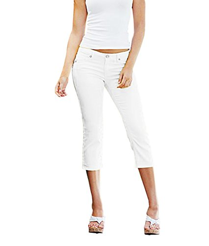 HyBrid & Company Women's Perfectly Shaping Stretchy Denim CapriQ19411 White 5 ()