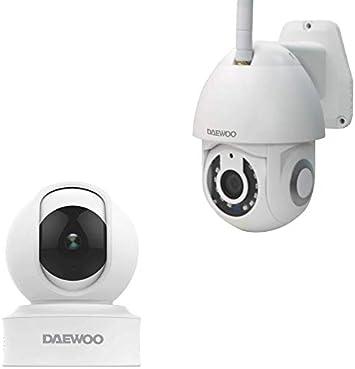 Opinión sobre Daewoo - Juego de 2 cámaras de vigilancia Full HD para Interior y Exterior, con detección de Movimiento, Audio y visión Nocturna, EP501 y IP501