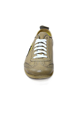 A-Style Supple Leather Sneakers Beige 100% Made in Italy EU41