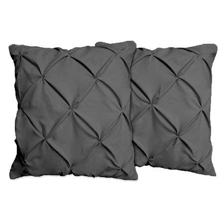 Pinch Plated / Pintuck Pillow Shams Set of 2pcs - Luxury 600-TC100% Egyptian Cotton Cushion Cover Euro Size Decorative Pillow Cover Tailored European Pillow Sham (Euro 26x26, Dark Gray Solid)