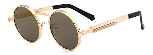 soleil yeux Diamant Ronde chat Style Lunettes Femme Miroir brun CHTIT Homme de de or TSGL297 de zxaFgq5