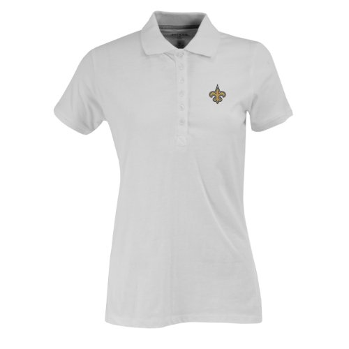 New Womens Polo (NFL Women's New Orleans Saints Spark Short Sleeve Polo (White,)