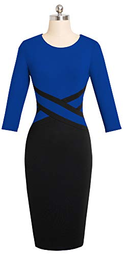 Blue Women's HOMEYEE 4 Dress 3 B463 Pencil Church Colorblock Sheath Sleeve 6ZqvwZA