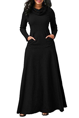 Maxi largo Vestido Cuello Su Mujer alto R1EYCwqxz